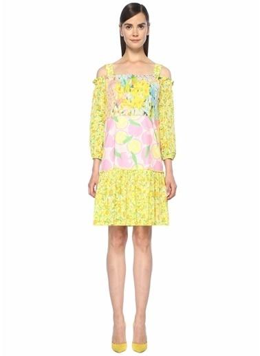 Boutique Moschino Omuzları Açık Fırfırlı Çiçekli Mini Elbise Pembe